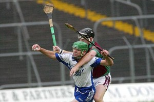 Kiltale's Stephen Whyte moves in on Kilmessan's Charlie Keena during the Meath SHC semi final at Pairc Tailteann