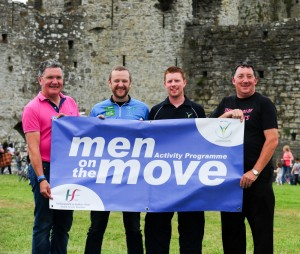 At the launch of the Men on the Move project at Trim Castle were (L to R): Philip Cassidy (Irish Cycling Legend), P.J Gallagher (Comedian), Ruairi Murphy (Meath LSP) and John Tobin (Friends of St. Josephs, Trim).