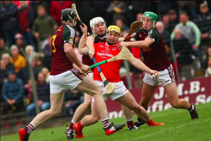 Not much room for Trim's Neil Heffernan as Philly Garvey, Iarla Hughes and Ronan Ryan close in during the Meath SHC final at Pairc Tailteann